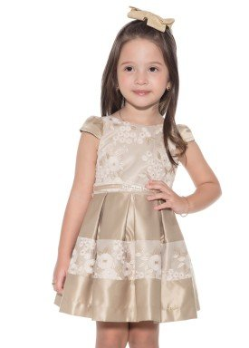 vestido satin infantil feminino dourado paraiso 9895 1