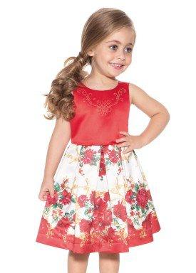 vestido satin infantil feminino floral vermelho paraiso 9896 1