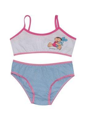 conjunto top calcinha infantil feminino turma da monica azul evanilda 22040039