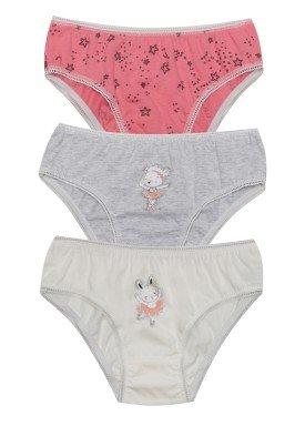 kit calcinha 3pc s infantil feminina bailarina evanilda 01010059