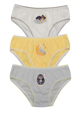 kit calcinha 3pc s infantil feminina dreams evanilda 01010061