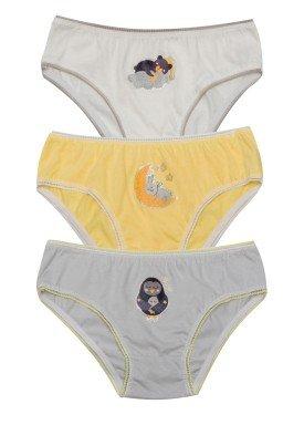 kit calcinha 3pc s infantil feminina dreams evanilda 01010061
