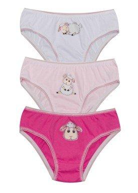 kit calcinha 3pc s infantil feminina ovelhinha evanilda 01010060