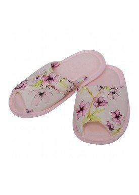 pantufa infantil feminina floral rosa evanilda 82010005