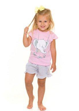 pijama curto infantil feminino elefantinho rosa evanilda 60010004