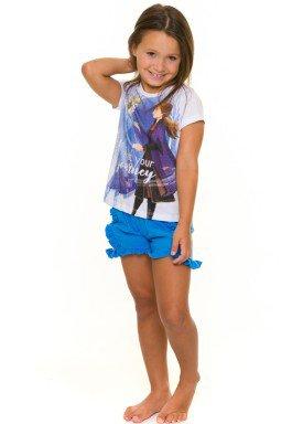 pijama curto infantil feminino frozen branco evanilda 49310001