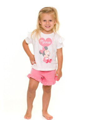 pijama curto infantil feminino minnie branco evanilda 60030003