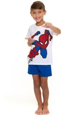 pijama curto infantil masculino homem aranha branco evanilda 52050029
