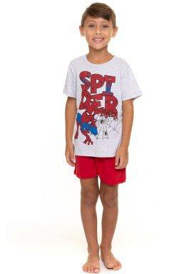 pijama curto infantil masculino homem aranha mescla evanilda 52050028