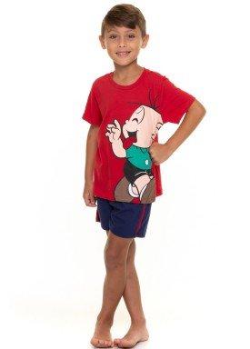 pijama curto infantil masculino turma da monica vermelho evanilda 52040009