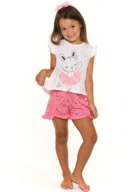 pijama curto infantil feminino bailarina branco evanilda 49010024