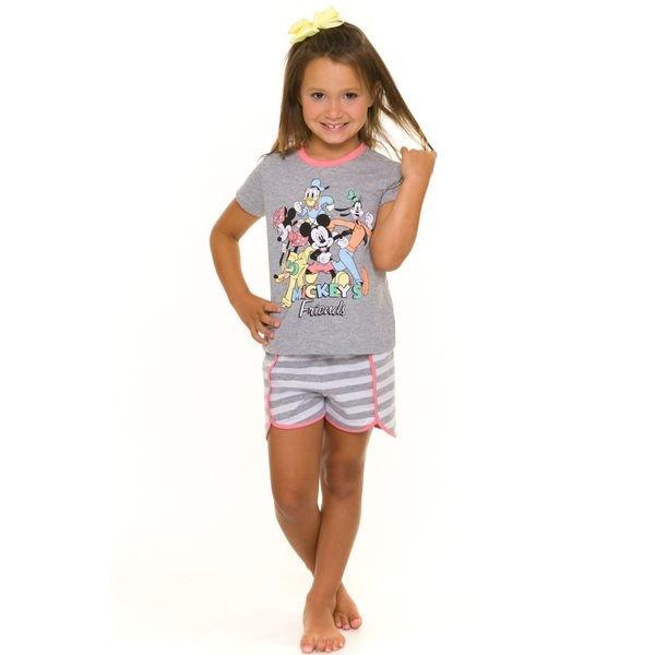 pijama curto infantil feminino disney mescla evanilda 49030020