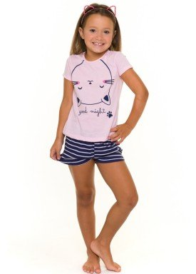 pijama curto infantil feminino good night rosa evanilda 49010022