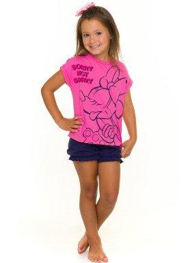 pijama curto infantil feminino minnie pink evanilda 49030016