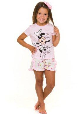 pijama curto infantil feminino minnie rosa evanilda 49030017