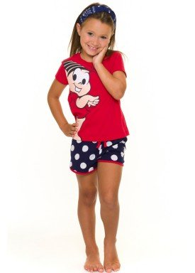 pijama curto infantil feminino turma da monica vermelho evanilda 49040014
