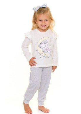 pijama longo infantil feminino little bear natural evanilda 40010004