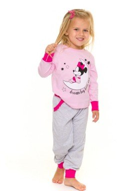 pijama longo infantil feminino minnie rosa evanilda 40030004