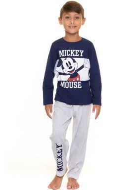 pijama longo infantil masculino mickey marinho evanilda 27030007