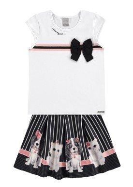 conjunto infantil feminino pets branco alakazoo 39625 2