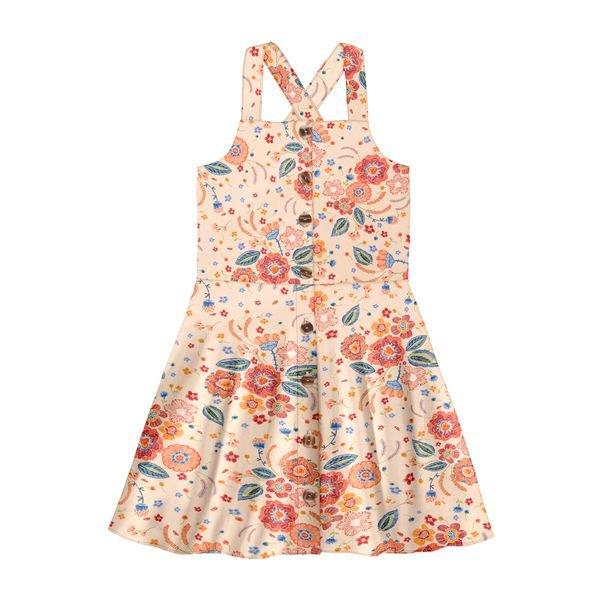 vestido infantil feminino floral salmao alakazoo 39606