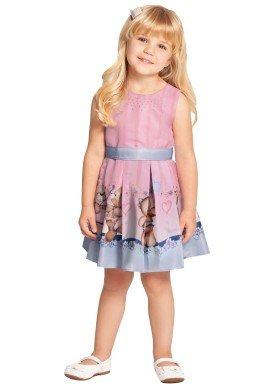 vestido infantil feminino ursinho rosa alakazoo 39572 1