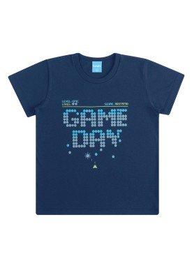 camiseta infantil masculina game day marinho kamylus 12042