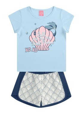 conjunto infantil feminino shell azul kamylus 10178