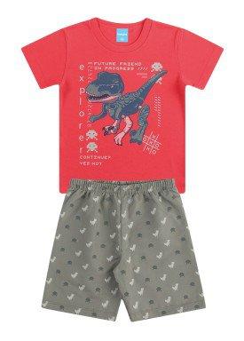 conjunto infantil masculino dino vermelho kamylus 12019