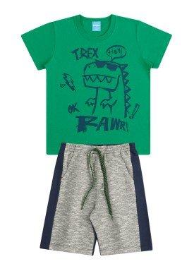 conjunto infantil masculino trex verde kamylus 12047