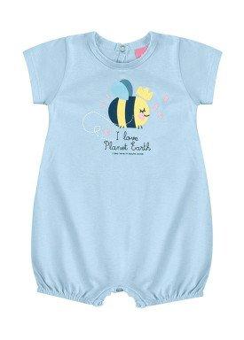 macaquinho suedine bebe feminino abelhinha azul kamylus 10144
