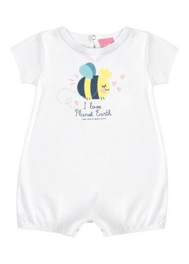 macaquinho suedine bebe feminino abelhinha branco kamylus 10144