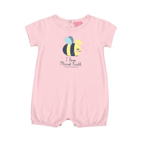 macaquinho suedine bebe feminino abelhinha rosa kamylus 10144