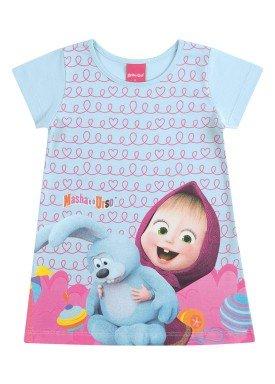 vestido infantil feminino masha urso azul kamylus 88041
