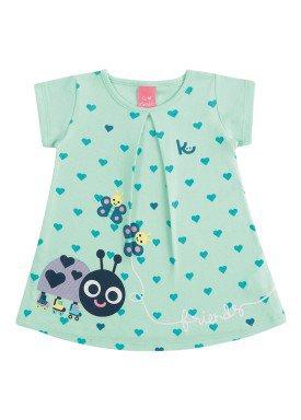 vestido suedine bebe feminino friends verde kamylus 10140