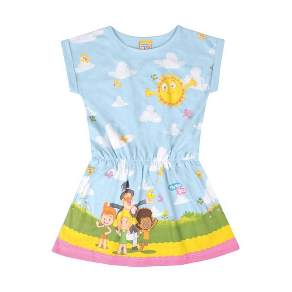 vestido infantil feminino mundo bita azul kamylus 89816