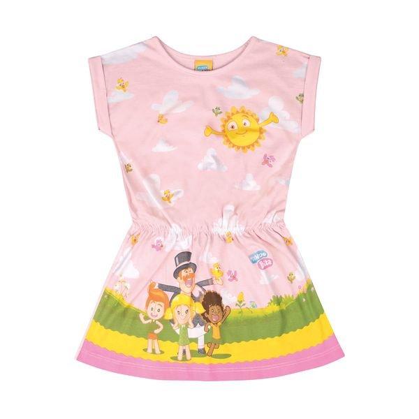 vestido infantil feminino mundo bita rosa kamylus 89816