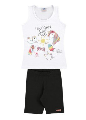conjunto infantil feminino unicorn branco marlan 44642