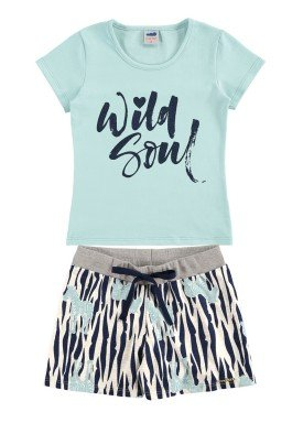 conjunto infantil feminino wild soul azul marlan 44623