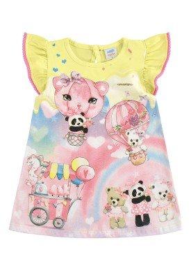vestido bebe feminino ursinhos amarelo marlan 40347