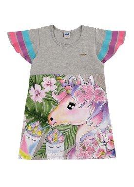 vestido infantil feminino unicornio mescla marlan 44643