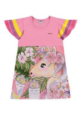 vestido infantil feminino unicornio rosa marlan 44643
