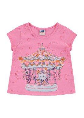 blusa infantil feminina carrossel rosa marlan 42443