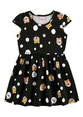 vestido infantil feminino hello preto alenice 44350 5544