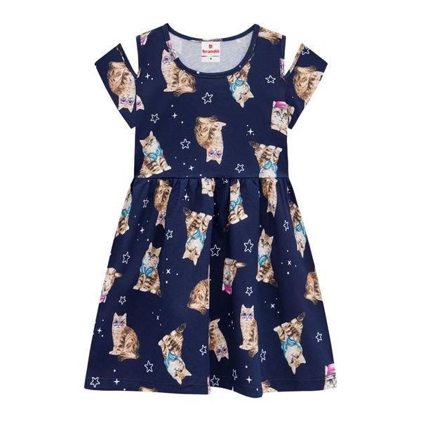 vestido infantil feminino cats marinho brandili 34226