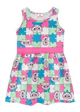 vestido infantil feminino quebra cabeca rosa brandili 34189