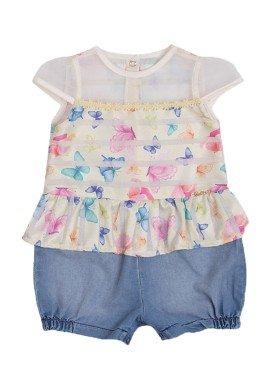 macacao meia manga bebe menina borboletas amarelo paraiso 9722