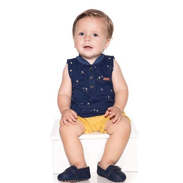 macacao banho de sol bebe menino barquinhos mostarda paraiso 10114 1