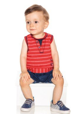 macacao banho sol bebe masculino beach club vermelho paraiso 9728 1