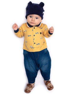 macacao longo bebe masculino carros mostarda paraiso 10133 1